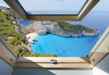 Greek Island Skylight Window View Fototapete