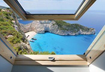 Greek Island Skylight Window View Fototapete