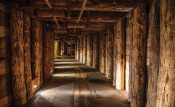Holz Tunnel Bergwerk Fototapete