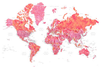 Hot pink and coral detailed world map with cities, Tatiana Fototapete