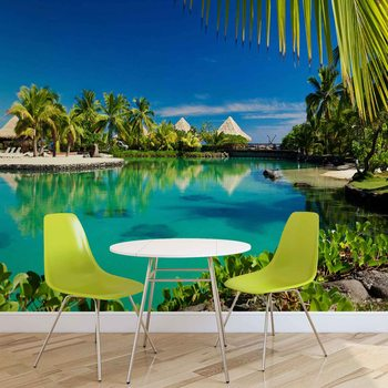 Insel Palmen Tropischer See Fototapete