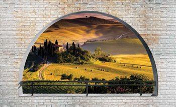 Italienische Landschaft Fenster Ausblick Fototapete