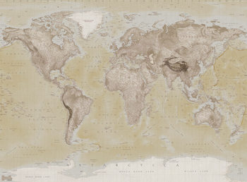 Karte von Welt, Weltkarte - Neutral Fototapete