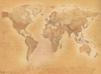 Karte von Welt, Weltkarte - Old map Fototapete