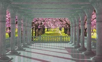 Kirschbäume Garten Ausblick Fototapete