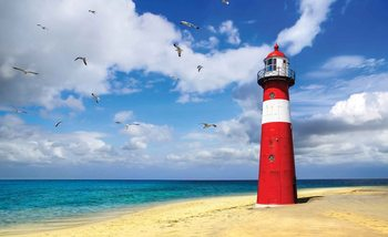 Leuchtturm Strand Fototapete