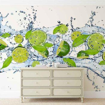 Limetten Wasser Strahl Fototapete