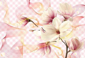 Magnolia Flowers Pink Fototapete