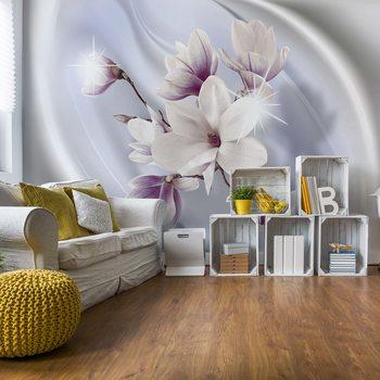 Magnolia Modern Floral Design Blue Fototapete