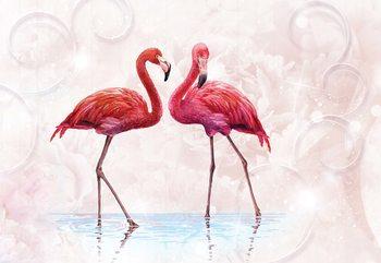 Modern Tropical Flamingos Fototapete