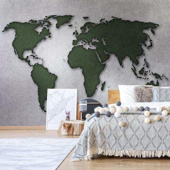 Modern World Map Silver Fototapete