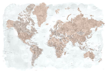Neutrals and muted blue watercolor world map with cities, Calista Fototapete