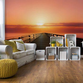 Ocean Pier Sunset Fototapete