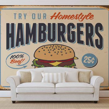 Retro Plakat Hamburger Fototapete