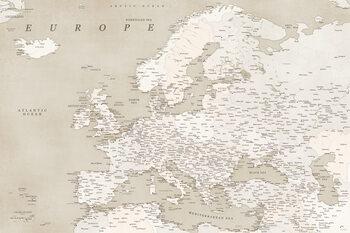 Sepia vintage detailed map of Europe Fototapete