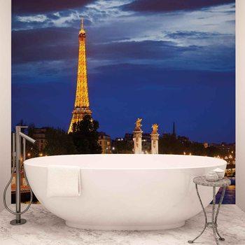 Stadt Eiffelturm Paris Nacht Fototapete