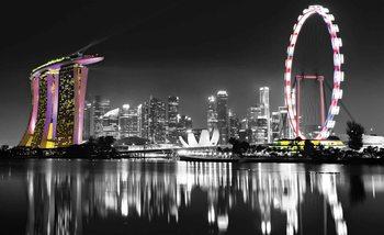 Stadt Skyline Singapore Nacht Lichter Fototapete