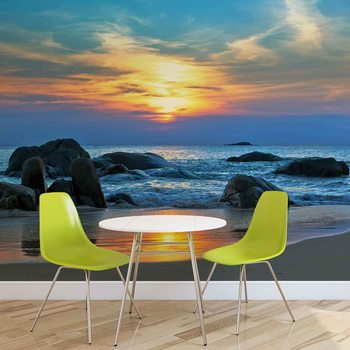 Strand Felsen Meer Sonnenuntergag Sonne Fototapete