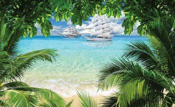Strand Insel Schiffe Fototapete