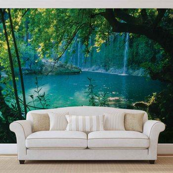 Tropischer Wasserfall Lagune Wald Fototapete