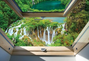 Waterfall Skylight Window View Fototapete