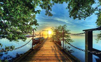 Weg Anlegestelle Bäume Sonnenuntergang Fototapete