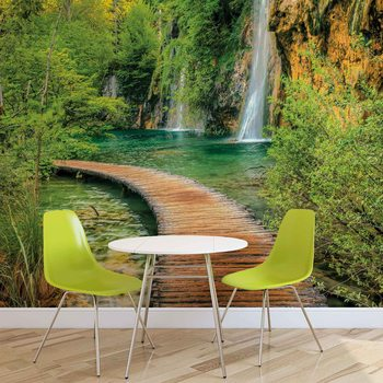 Weg See Berge Wasserfall Wald Fototapete