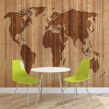 Weltkarte Holz Fototapete