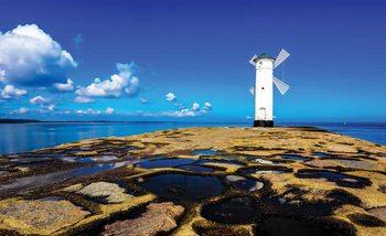 Windmühle Strand See Fototapete