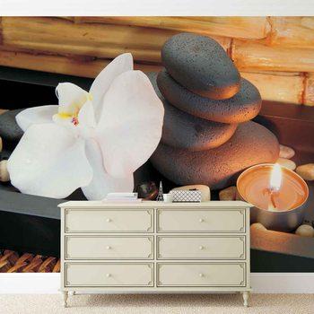 Zen Ruhe Steine Orchidee Kerze Fototapete