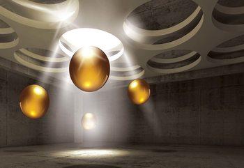 3D Modern Design Gold Spheres Fototapet