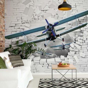 3D Plane Bursting Through Brick Wall Fototapet