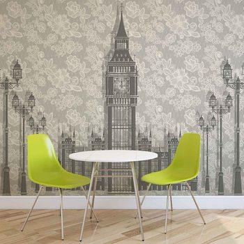 Abstract Floral London Design Fototapet