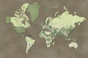 Army green detailed world map, Camo Fototapet
