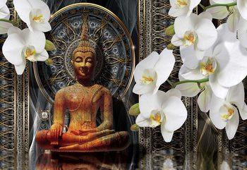 Buddha Zen Flowers Orchids Mandala Fototapet