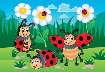 Cartoon Ladybirds Fototapet