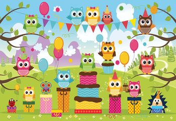 Cartoon Owl Party Fototapet