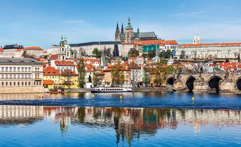 City Prague Bridge River Cathedral Fototapet