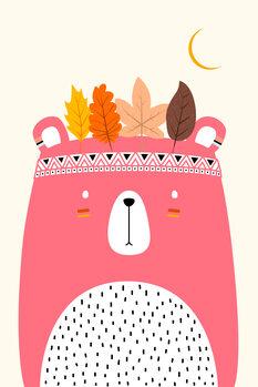 Cute Little Bear PINK Fototapet
