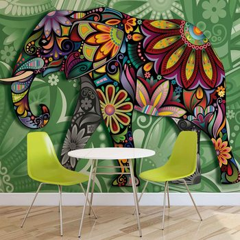 Elephant Flowers Abstract Colours Fototapet
