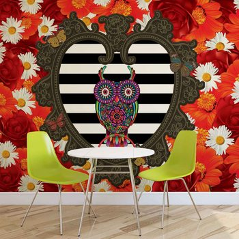 Floral Heart Owl Red Fototapet