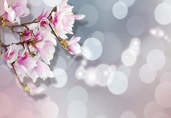 Flowers Pastel Bokeh Modern Design Fototapet
