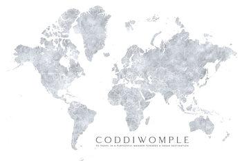 Grayscale watercolor world map, purposeful travels Fototapet