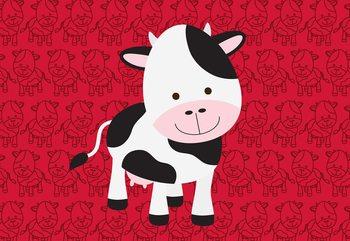 Happy Cartoon Cow Fototapet