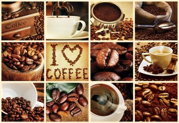 Love Coffee Squares Fototapet