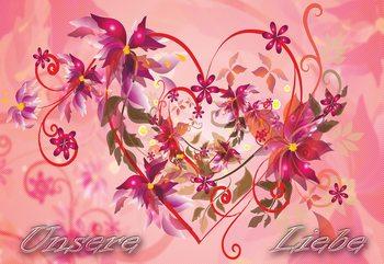 Love Heart Flowers Swirly Design Fototapet