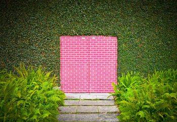 Pink Brick Door Fototapet