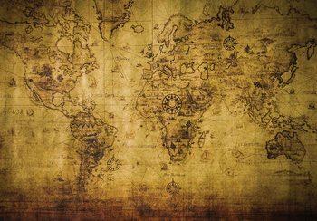 Sepia World Map Vintage Fototapet