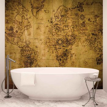 Sepia World Map Vintage Fototapet