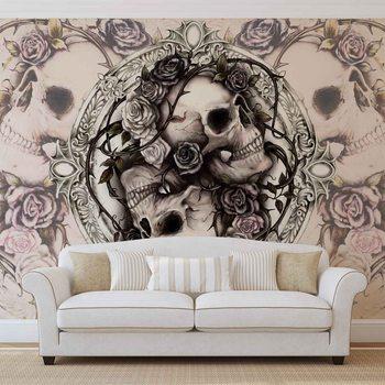 Skull Alchemy Roses Fototapet